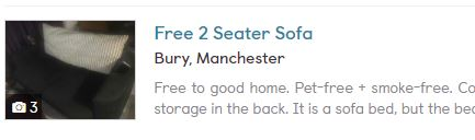 Free sofa on Gumtree
